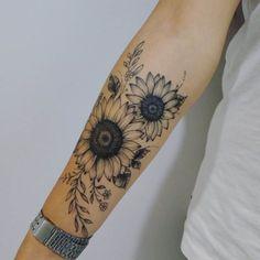 Sunflower Tattoo Sleeve, Sunflower Tattoo Shoulder, Sunflower Tattoos, Sunflower Tattoo Design, Butterfly Tattoos, Flower Sleeve, Hand Tattoos, Forearm Tattoos, Vine Foot Tattoos