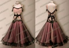 New Pink and Black Ballroom Dance Competition Dress Size s US 4 6 |