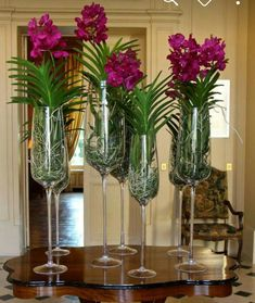 Nature and Zen Inspired Decorating Vanda Orchids, Orchids Garden, Orchid Plants, Flower Centerpieces, Flower Decorations, Wedding Centerpieces, Modern Flower Arrangements, Orchid Arrangements, Hotel Flowers