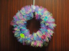 There are 220 pieces of tulle in this Easter wreath I made!  I made the eggs on my embroidery machine.