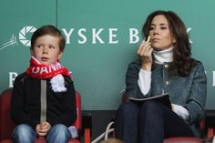 COPENHAGEN, DENMARK - JUNE Mary, Crown Princess of Denmark and her son, Prince Christian Valdemar Henri John get ready to watch the International Friendly between Denmark and Australia at Parken Stadium on June 2012 in Copenhagen, Denmark. Happy Birthday Princess, Happy 8th Birthday, Crown Princess Victoria, Crown Princess Mary, Prince Christian Of Denmark, Kate Middleton Family, V Australia, Princess Marie Of Denmark, Danish Royalty