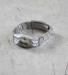 Adina Mills Time to Rock Pyrite Bracelet Stainless Steel Watch, Watch Bands, Sculpting, Rings For Men, Silver Rings, Wedding Rings, Engagement Rings, Rock, Bracelets