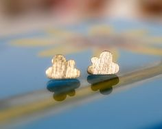 Cute and tiny cloud  earrings. CHOOSE YOUR COLOR. Gold or Silver. DoubleBJewelry. DoubleB. Double B.