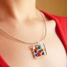 Little Abacus  Sterling silver   Colourful by aforfebre on Etsy