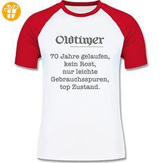 Geburtstag - 70 Jahre Oldtimer Fun Geschenk - L - Weiß/Rot - L140 - zweifarbiges Baseballshirt für Männer - Shirts zum 70 geburtstag (*Partner-Link)
