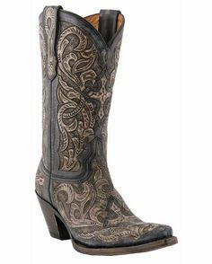 Love these!  Women's Charcoal and Denim Hand Tooled Las Cruces Boot.  Thank you Country Outfitter