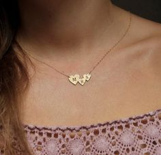 Three Initial Necklace, Two Initial Necklace, Gold from Capucinne by DaWanda.com
