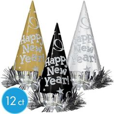Black, Gold & Silver New Years Cone Hats 12ct - Party City