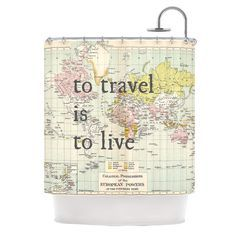 """Catherine Holcombe """"To Travel Is To Live"""" Color Map Shower Curtain"""