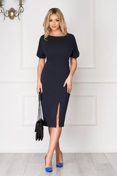 Darkblue office midi pencil dress short sleeves and frontal slit Product Label, Guess Jeans, Office Fashion, Pencil Dress, Best Sellers, Dress Outfits, Dark Blue, Cold Shoulder Dress, Short Sleeves
