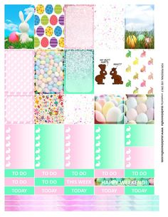 Easter Free printable planner stickers for MAMBI happy planner or Erin Condren vertical life planner