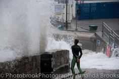 Man nearly swept into the sea in Newquay storm swell Newquay, Cornwall, Niagara Falls, Waves, Sea, Sunset, The Ocean, Sunsets, Ocean Waves
