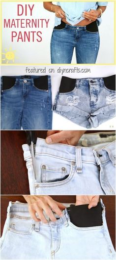 How to Make Any Pair of Jeans Perfect for Maternity - 9 Month & more - Schwanger Kleidung Maternity Pants, Maternity Wear, Maternity Fashion, Maternity Clothing, Summer Maternity Outfits, Maternity Sewing, Maternity Nursing, Diy Clothing, Sewing Clothes