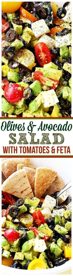 Olives and Avocado Salad with Tomatoes and Feta Cheese - Delicious, colorful and summery avocado salad with black olives, tomatoes and feta cheese. Olives and Avocado Salad with Tomatoes and Feta Cheese Anna Mauk maukanna easter Olives and Avocado Vegetarian Recipes, Cooking Recipes, Healthy Recipes, Whole30 Recipes, Avocado Recipes, Salad Recipes, Healthy Salads, Healthy Eating, Kale Salads