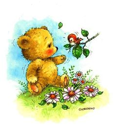 Teddy Bear - By: Artist Greg Giordano Illustration Mignonne, Cute Illustration, Fabric Painting, Painting & Drawing, Art D'ours, Baby Animals, Cute Animals, Art Mignon, Teddy Bear Pictures