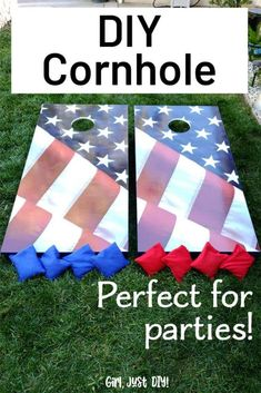 DIY Cornhole Game Board, get the woodworking plans and build your own set. Hours of family fun in the backyard or at the next BBQ, block party or tailgate. #girljustdiy Easy Woodworking Projects, Diy Wood Projects, Outdoor Projects, Woodworking Plans, Outdoor Ideas, Garden Projects, Cornhole Skins, Cool Diy, Easy Diy