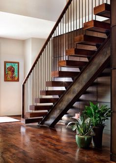 Terrific Residential Metal Stairs Ideas in Staircase Contemporary design ideas with custom floating stairs floating treads mesquite stairs Wood Railings For Stairs, Modern Stair Railing, Stair Railing Design, Stair Handrail, Modern Staircase, Steel Railing, Staircase Contemporary, Railing Ideas, Staircase Ideas