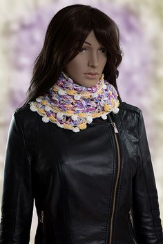 #crochet #scarf Eye Candy is a wonderfully detailed intricate scarf and is coloured with yellows, whites, purples, pinks and blues     The scarf has a good thickness and length as can be seen from the picture so it can be wrapped around the neck and worn in a variety of different styles. - See more at: http://www.pinsnneedles-alterations.co.uk/handmade-accessories/crochet-scarves/eye-candy#sthash.rRx8W5Uj.dpuf