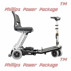 Free Rider USA  Luggie Classic  Compact Lightweight Foldable Scooter  4Wheel  Black  PHILLIPS POWER PACKAGE TM  TO 500 VALUE -- View the item in details by clicking the VISIT button