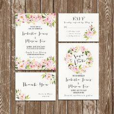 Invitation kit Wedding Invitation Floral watercolor invitations Set/Suite Save the date RSVP Thank You Cards Printable digital files (37.00 USD) by HappyLifePrintables