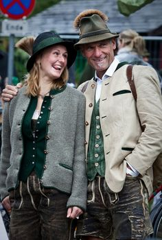 A couple in- oyful mood wearing Austrian costumes in Salzburg - Image by dChris.