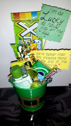 """A st patties gift for my boyfriend just because! """"Im lucky to have you in my life"""" and """"you're better than any treasure found at the end of the rainbow"""" attached to the skittles"""