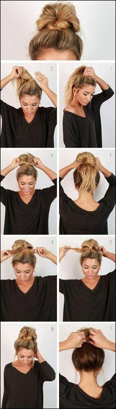 Die besten 25+ Einfache updo Ideen auf Pinterest   Einfache haar ... #Frisuren #HairStyles Heute wählen Knoten Schnittwunde zu Händen Casual zu Teil aussehen. Die Zugabe von Kopfband in Knoten Schnittwunde verbessert seine Wirksamkeit und ...