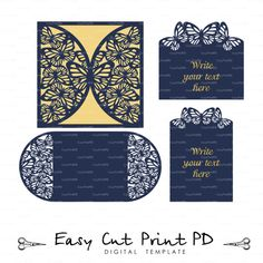 Set butterfly Wedding invitation RSVP Card Laser Cut template