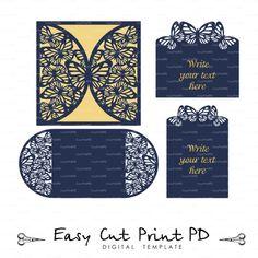 Set butterfly Wedding invitation RSVP Card Laser Cut template