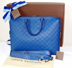 717784432 Louis Vuitton Porte Damier Infini Documente Briefcase Soft Sided Blue  Monogram Laptop Bag
