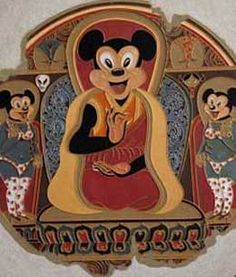 """Join us for a contemporary #Tibetan #art exhibition at Trace Foundation in New York, November 6 - December 21, 2014. gaton.trace.org """"Mickey Mouse"""" (2011) by #Gade, from a private collection"""