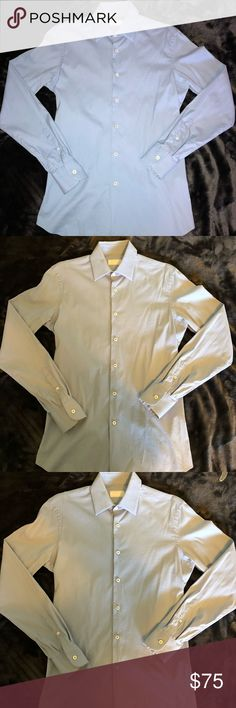 Men's Prada Light Blue Slim Fit Button Up Size Sm Men's Prada Light Blue Slim Fit Button Up Size Med. great condition only worn once. 100% authentic and the materials feel great on skin. Prada Shirts Dress Shirts