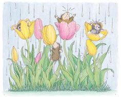 """Mudpie, Amanda, Muzzy and Monica"" from House-Mouse Designs® Tulips and Rain Beatrix Potter, Coloring Books, Coloring Pages, Adult Coloring, House Mouse Stamps, Mouse Pictures, Mouse Color, Cute Mouse, Gifs"