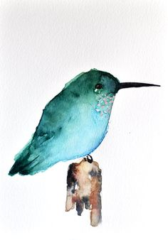 ORIGINAL Watercolor bird painting  Green by ArtCornerShop on Etsy
