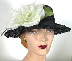 Vintage Womens Black Straw Hat Kentucky Derby by MakowskyMillinery