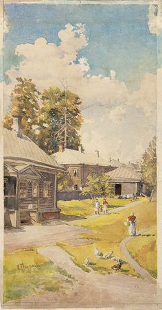 """Елена Поленова.""""Пейзаж"""", 1880-е. Бумага, акварель, графитный карандаш. 36,5x19,3. ГТГ"""