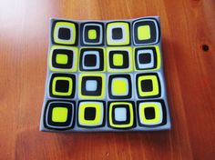 Fused Glass Plate  Retro Squares  Yellow  Black  Grey