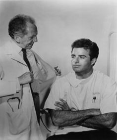 Ben Casey (Vince Edwards) and Dr Zorba. I had a Ben Casey shirt in the Midcentury Modern, Vince Edwards, Ben Casey, Nostalgia, 60s Tv, Tv Doctors, Vintage Television, Baby Boomer, Vintage Tv