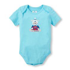 Newborn Baby Boys Short Sleeve 'Capt. Adorable' Dog Captain At Wheel Little Talker Bodysuit - Blue - The Children's Place