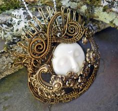 Queen of the Night Moon Goddess Pin Pendant by twistedsisterarts