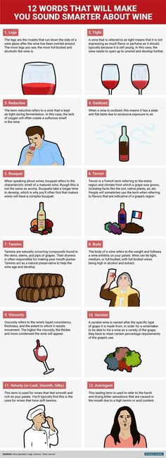 Vocab to make you sound smarter about wine | A lot of these terms are the ones we go over in our Missouri Wine 101 classes... great graphic! #WineGuide