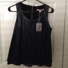 Faux Leather Top Brand new faux leather top with perforated bottom and sheer under layer. No trades. No PayPal. Forever 21 Tops