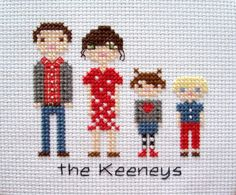 Completed Custom Family Portrait in Cross by threadsandthings1, $15.00