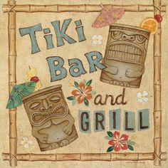 Tiki Bar and Grill poster Tropical Backyard, Backyard Bar, Tiki Art, Tiki Tiki, Rockabilly, Tiki Hawaii, Tiki Decor, Tiki Totem, Tiki Lounge