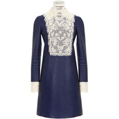 Valentino blue leather dress (9.235 BRL) ❤ liked on Polyvore featuring dresses, collar dress, embroidery dresses, blue collared dress, beaded dress and blue zipper dress