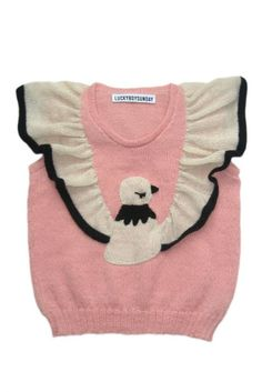 girl's sweater with pigeon motif and its wings knitted in as ruffled shoulder/cap sleeves - http://findanswerhere.com/kidsclothes