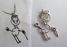 Silver pendant childrens drawing. Hanger gemaakt van zilverdraad naar een kindertekening van kleinkind.