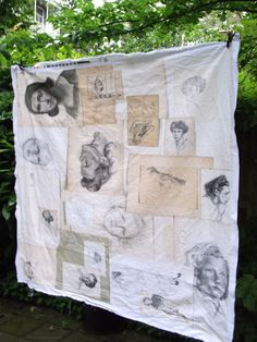 Textiles utilizing a collection of found drawings  -  Swarm via K