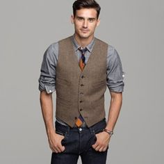 men in vests | Brown plaid shirt, vest and jeans