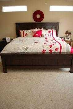 dark brown ana white Farmhouse Bed